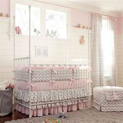 Baby Crib Set Pink And Gray Chevron Crib Bedding Carousel Designs