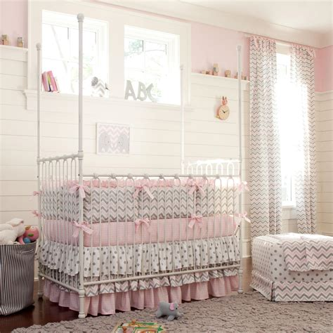 cribs bedding set pink and gray chevron crib bedding carousel designs