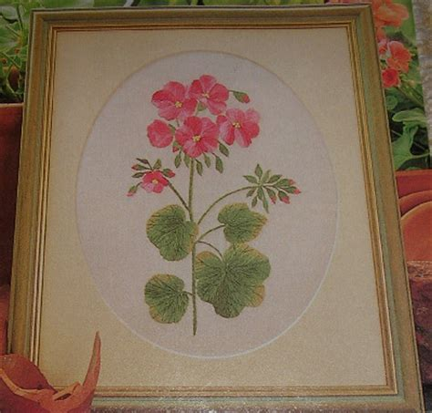 Handmade Embroidery For Sale - geranium flower embroidery patterns for sale
