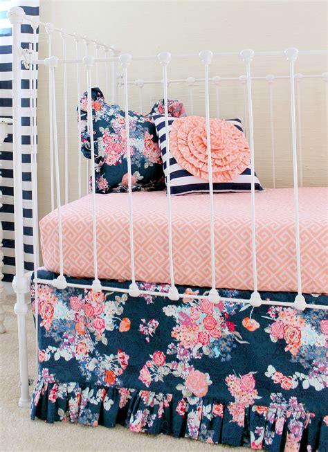 coral nursery bedding sets navy floral coral bumperless baby bedding set lottie da baby baby bedding nursery decor
