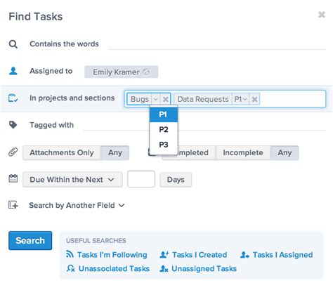 search for sections how to search by section in asana