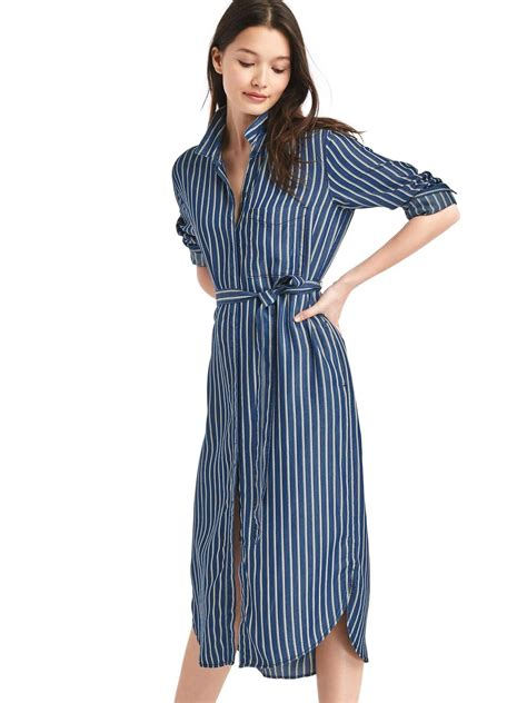 Striped Midi Shirt Dress tencel stripe midi shirtdress gap 54 99 fashion
