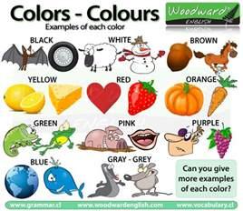 color vocabulary colours colors in vocabulary los colores en ingl 233 s