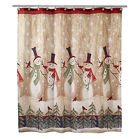 tall snowmen shower curtain in ivory www
