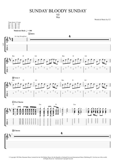 my bloody tab sunday bloody sunday by u2 score guitar pro tab