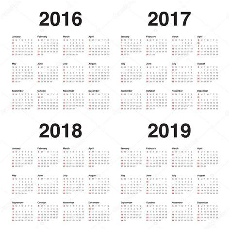 Calendario De 2017 E 2018 Calend 225 2016 2017 2018 2019 Vetores De Stock