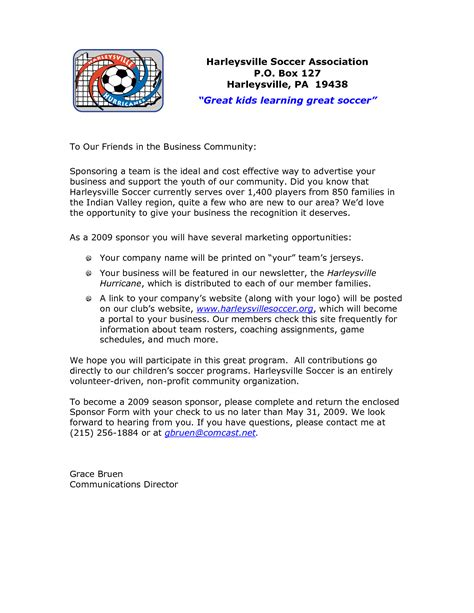 Sponsorship Letter Youth Football Sle Letter For Football Sponsorship Contoh 36