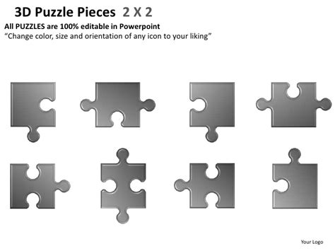 3d Puzzle Pieces 2 X2 Powerpoint Presentation Templates Editable Puzzle Pieces