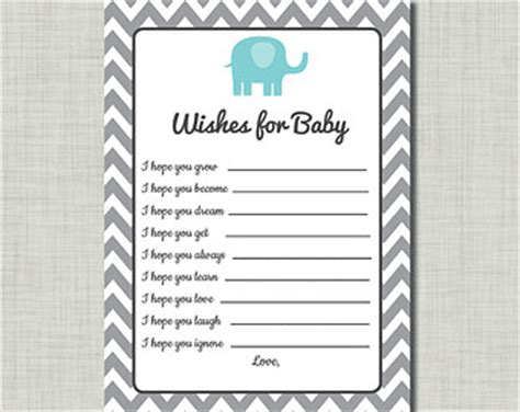 wishes for baby boy template elephant advice card etsy