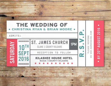 ticket wedding invitation template vintage ticket wedding invitations uk ireland