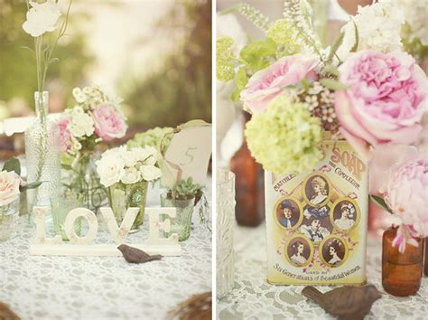 Stephanie Brian S Vintage Outdoor Real Wedding Green Vintage Table Centerpieces For Weddings