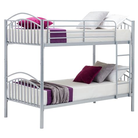 One Bed Bunk Bed Metal Bunk Bed Frame 2 Person 3ft Single For Children With Mattress Silver Ebay