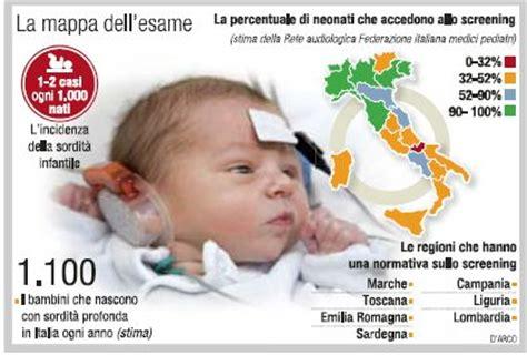 test udito neonati per i neonati test uditivo ancora in poche regioni