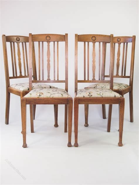 Oak Dining Chairs Antique Set 4 Oak Dining Chairs Antiques Atlas