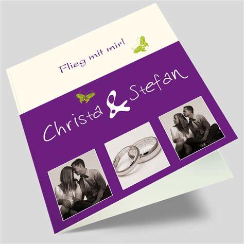 Hochzeitseinladungen Mit Foto by Foto Hochzeitskarte Blickfang In Violett
