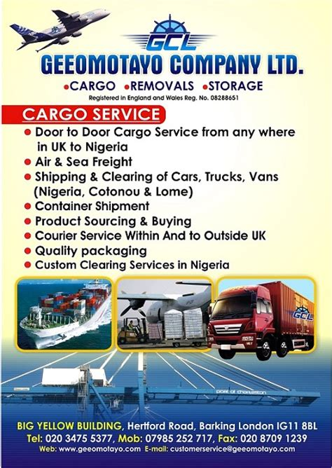 cargo companies from uk to nigeria adverts nigeria