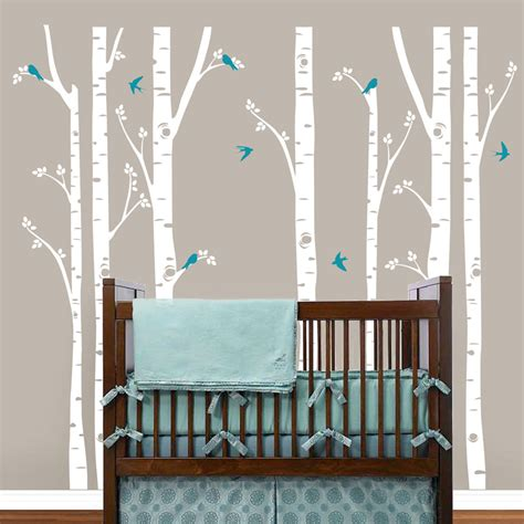 Nursery Room Tree Wall Decals Birch Trees Wall Decals Tree Wall Sticker Removable White Bbirch Wall Stickers Trees Baby