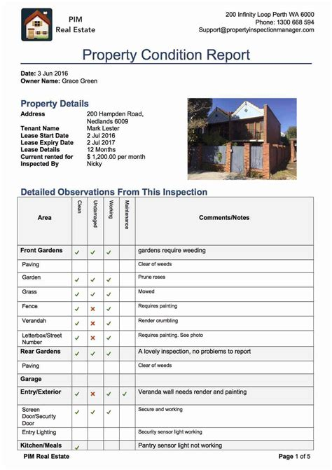 Property Inspection Manager Home Condition Report Template