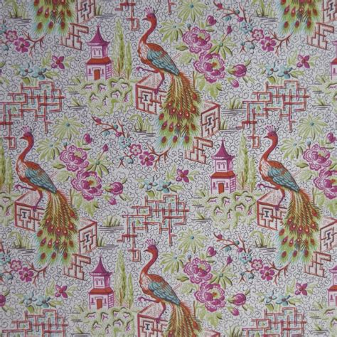 printable quilt fabric asian toile print pink peacock asian oriental floral