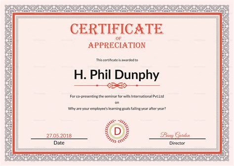 design certificate of recognition certificate of appreciation design template in psd word