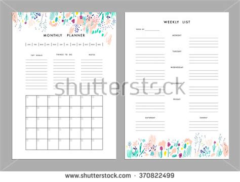 Monthly Planner Plus Weekly List Templates Stock Vector 370822499 Shutterstock Notes Plus Templates