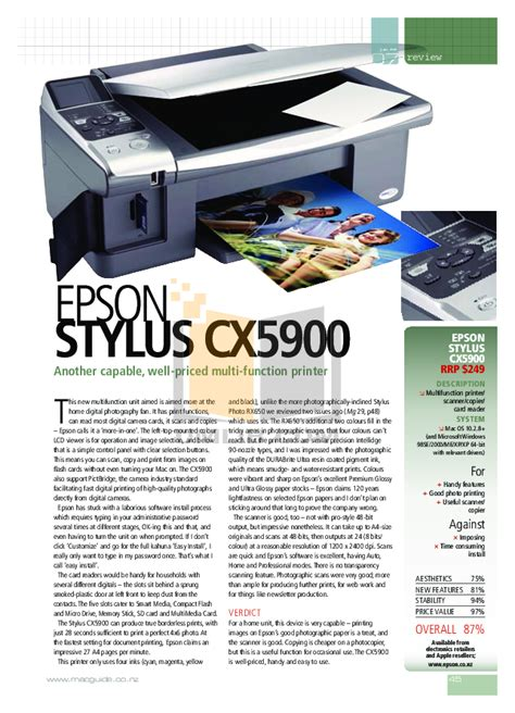 Download Free Pdf For Epson Stylus Cx5900 Multifunction