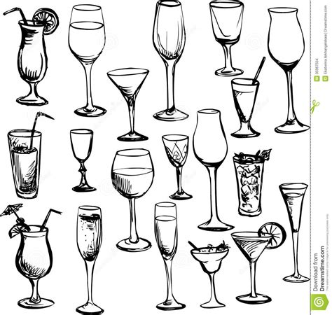 Wooden Clip Soda Mixed set of wineglass stock images image 35967504
