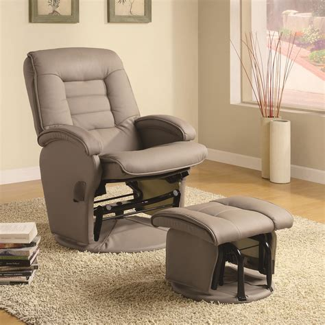 leather glider recliner with ottoman coaster recliners with ottomans leather like vinyl glider