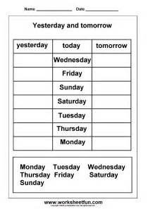 days of the week yesterday and tomorrow printable