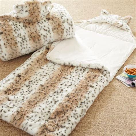snow leopard faux fur comforter faux fur sleeping bag snow leopard pbteen