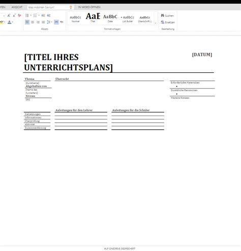 Word Vorlage Konzept T 228 Glicher Unterrichtsplan 2 Wordvorlage De