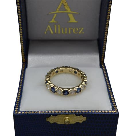 Blue Sapphire 2 35ct eternity blue sapphire ring band 14k yellow gold