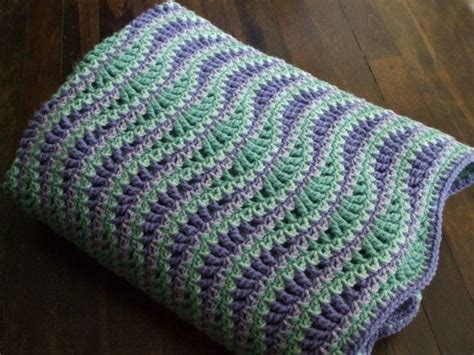 Wave Afghan In Green And Purple Crochet Throw Blanket   1000 images about crochet ripple blankets on pinterest