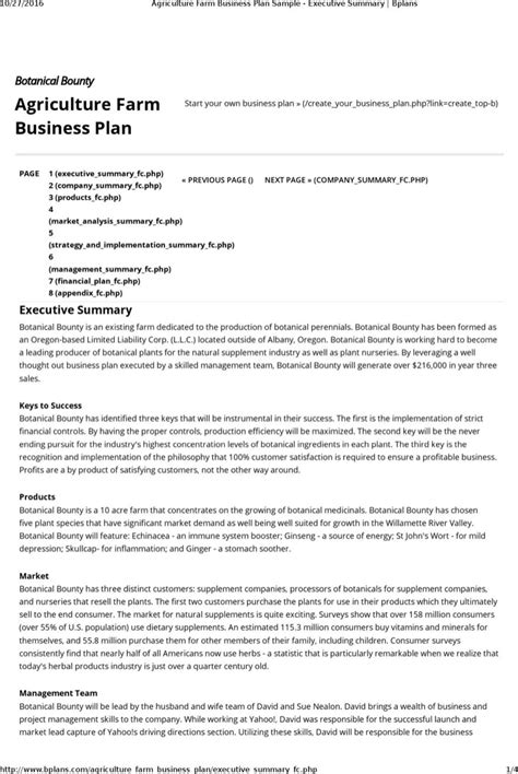Agriculture Business Plan Template Free farm business plan templates free premium