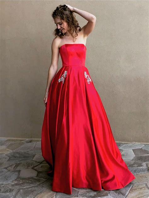 long prom dresses strapless   rhinestone long satin