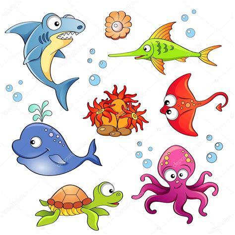 imagenes vectoriales animales gratis conjunto de animales lindos dibujos animados del mar