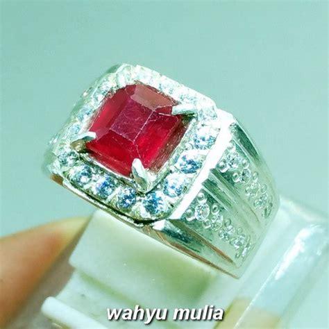 Cincin Batu Ruby batu cincin ruby merah delima kotak asli kode 974