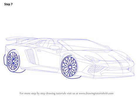 how to draw a lamborghini aventador sv roadster step by step how to draw lamborghini aventador lp750 4 sv roadster drawingtutorials101 com