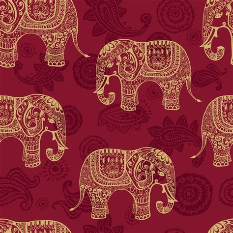 indian pattern background indian elephants wallpaper wall decor