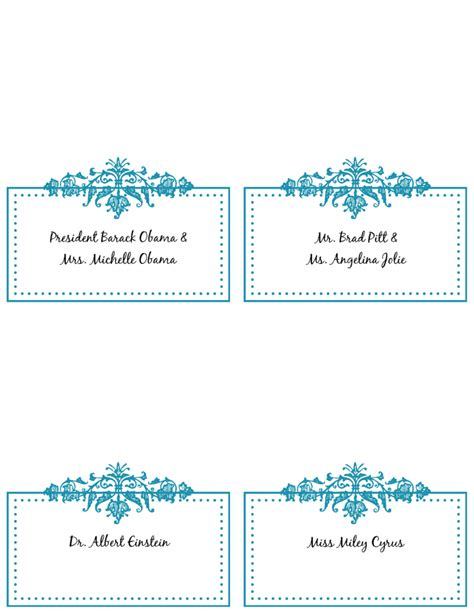 table name card template wedding card design blue floral vector decoration dazzling design wedding place cards template