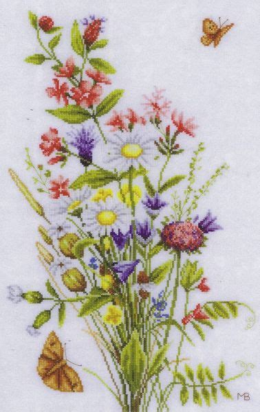 field flowers cross stitch kit  marjolein bastin