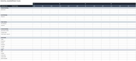 Free Marketing Plan Templates For Excel Smartsheet Digital Marketing Plan Excel Template