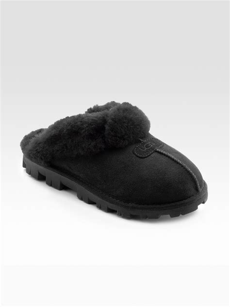 black ugg slippers ugg coquette sheepskin slippers in black lyst