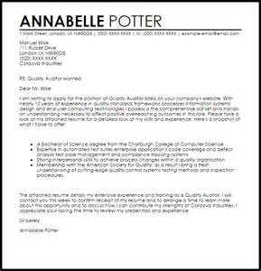 quality auditor cover letter sample livecareer