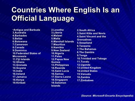 countries where is official language as a global language