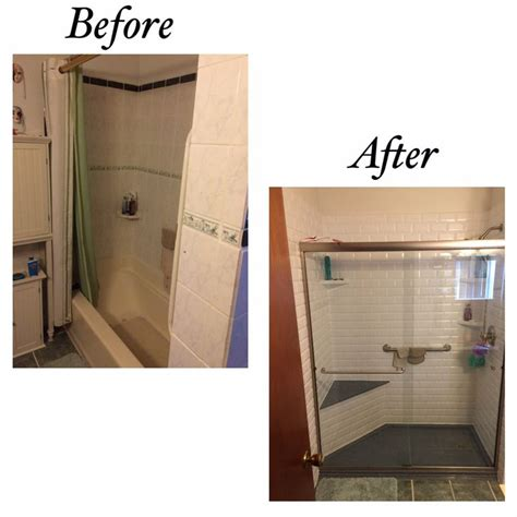 shower base with bench rebath white classic subway wall system with onyx