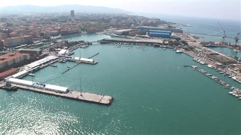 leghorn port aerial view of the port of livorno leghorn italy stock