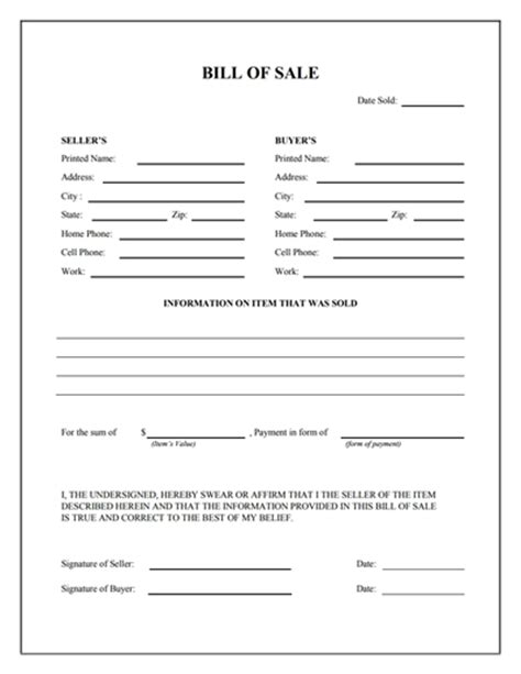 bill of sale form general bill of sale form free create edit