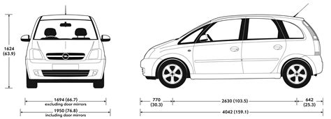 opel meriva 2004 dimensions car blueprints opel meriva blueprints vector drawings