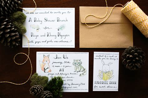 Baby Shower Diy Invitations by Diy Handlettered Woodland Themed Baby Shower Invitations